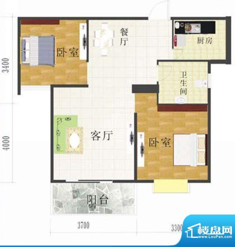 金地华府3-C户型 2室面积:75.50m平米