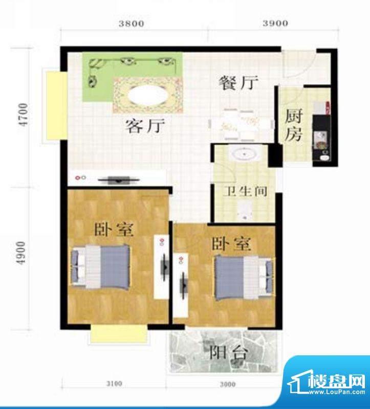 金地华府2-B户型 2室面积:89.29m平米