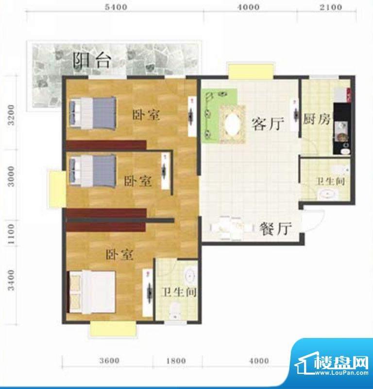金地华府4-D户型 3室面积:125.00m平米