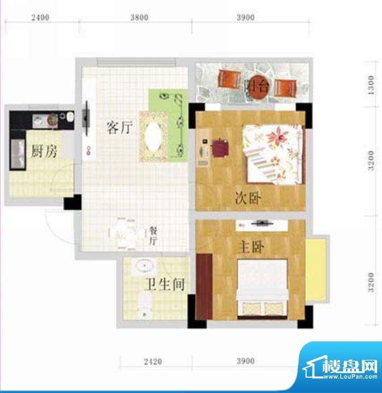 金地华府5-A户型 2室面积:75.95m平米