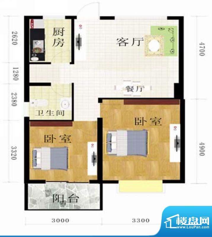 金地华府5-C户型 2室面积:80.97m平米