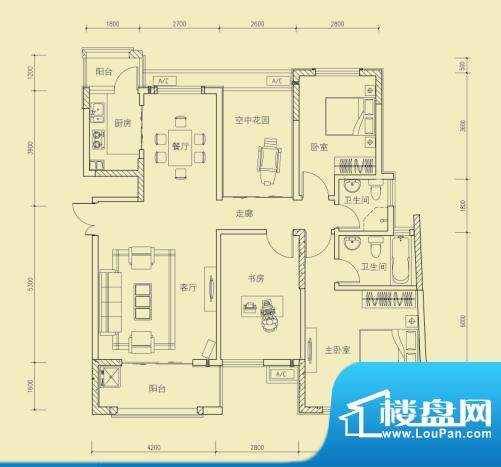大楚城一期1栋E2户型面积:124.00m平米