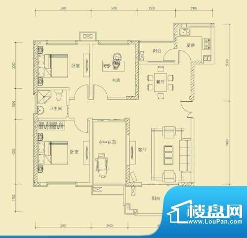 大楚城一期2栋G2户型面积:123.43m平米