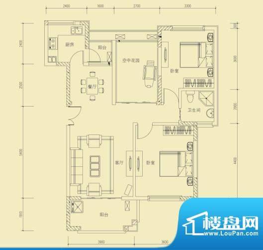 大楚城一期2栋G1户型面积:98.00m平米