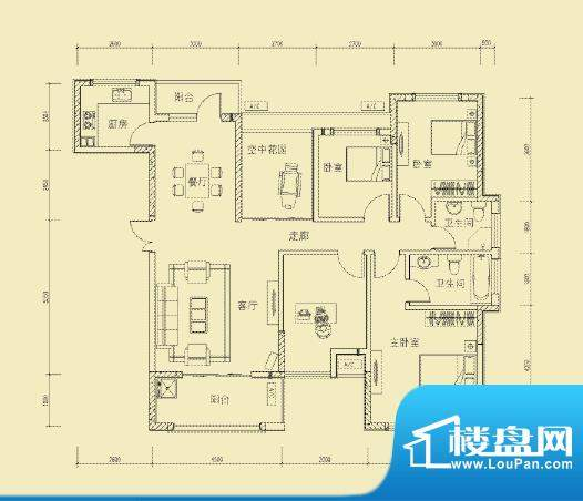 大楚城一期4栋F2户型面积:138.00m平米