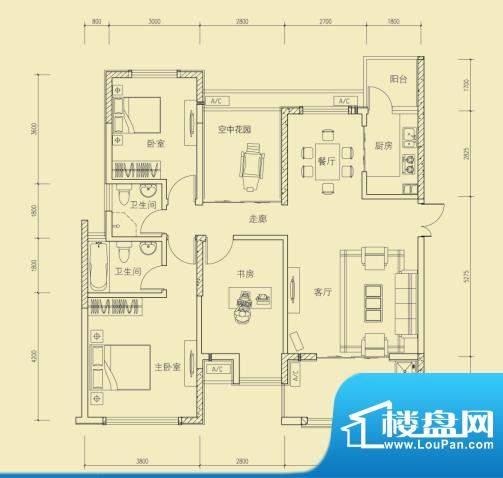 大楚城一期4栋F1户型面积:122.00m平米