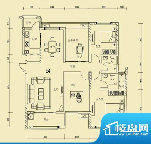 大楚城一期6栋E4户型面积:124.00m平米