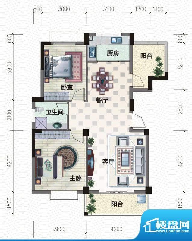 越通美院B1户型图 2面积:96.00m平米