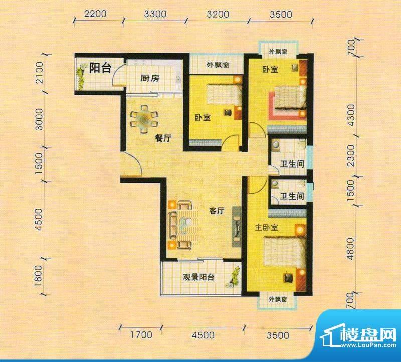 天慧小区3D户型3室面积:128.00m平米