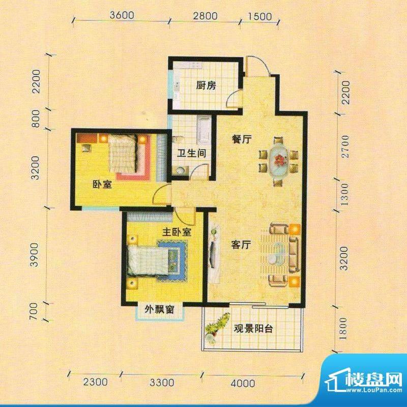 天慧小区2A户型 2室面积:81.87m平米