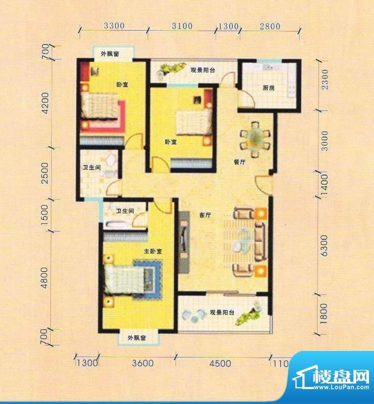 天慧小区3A户型 3室面积:130.00m平米