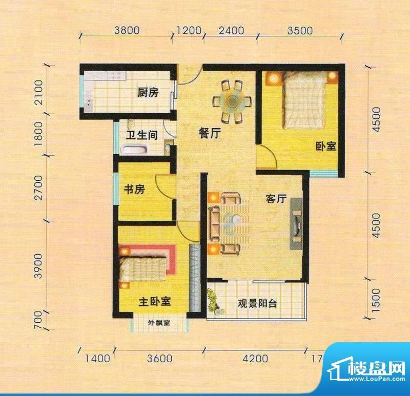 天慧小区3C户型3室面积:103.13m平米