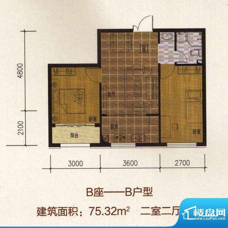 万豪·国际花园B座—面积:75.32m平米