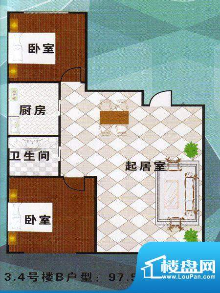 万有佳园万有家园 2面积:97.57m平米