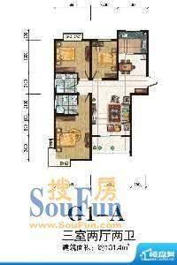 秦正华庭G1-A 3室2厅面积:131.40m平米