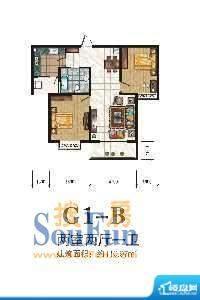 秦正华庭G1-B 2室2厅面积:110.97m平米