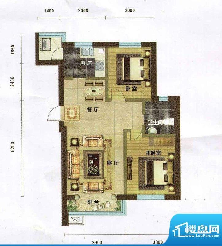 碧水云天91.95 2室2面积:91.95m平米