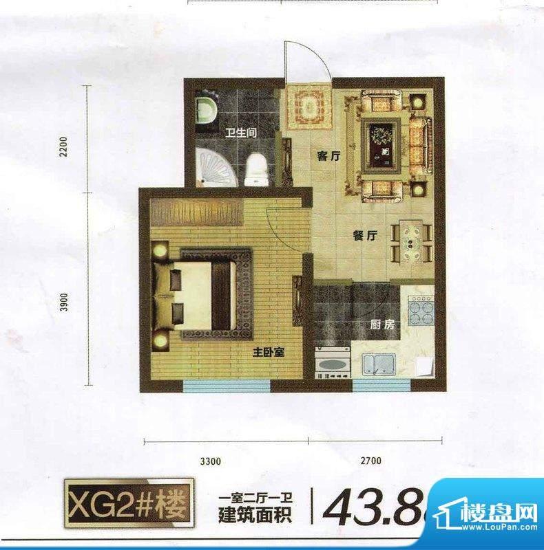 碧水云天43.88 1室2面积:43.88m平米