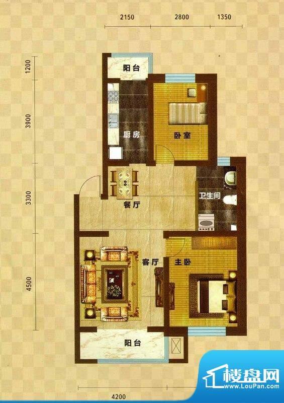 碧水云天04 2室2厅1面积:98.38m平米