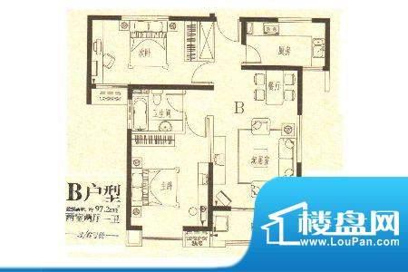 龙城国际2 2室2厅1卫面积:97.20m平米