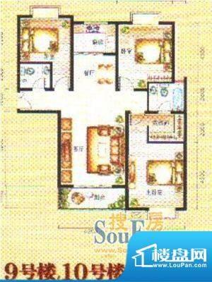 时代阳光户型2 3室2面积:137.50m平米