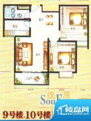 时代阳光户型1 2室2面积:99.00m平米