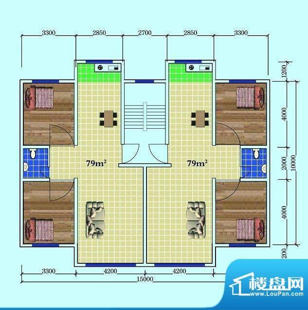 如意家园户型图面积:79.00m平米