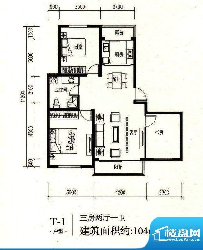 绿地·山水城T1 3室面积:104.00m平米
