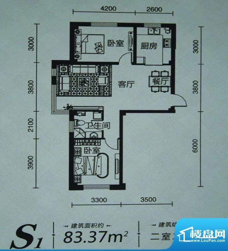 实华·美澜城S1户型面积:83.37m平米