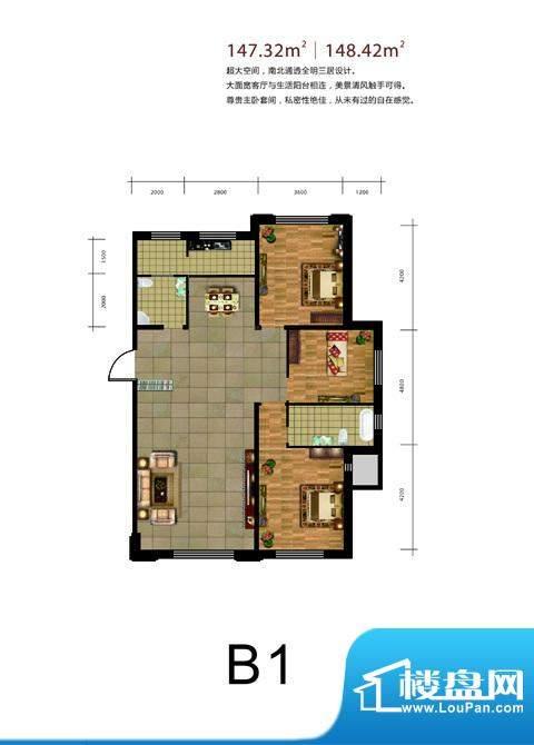 鑫城广场B1戶型 3室面积:147.32m平米