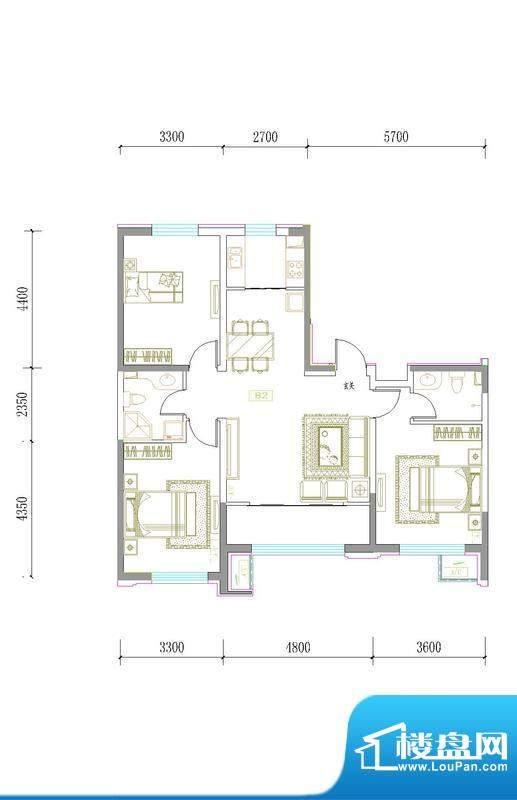 鑫城广场B2 3室2厅2面积:0.00m平米