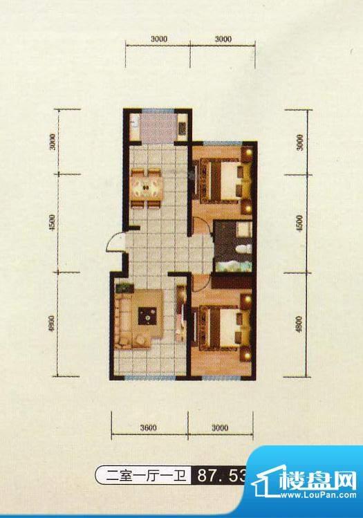 千金新城户型9 2室1面积:87.53m平米
