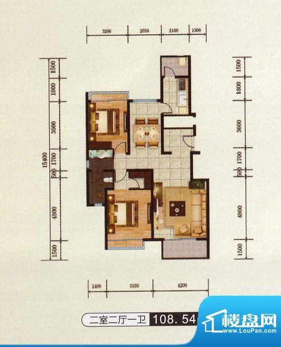 千金新城户型1 2室2面积:108.54m平米