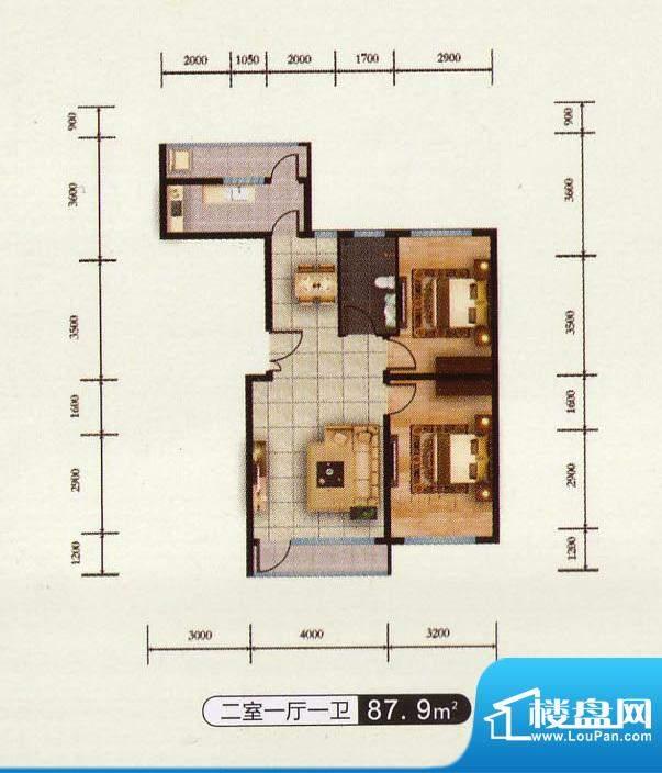 千金新城户型2 2室1面积:87.90m平米