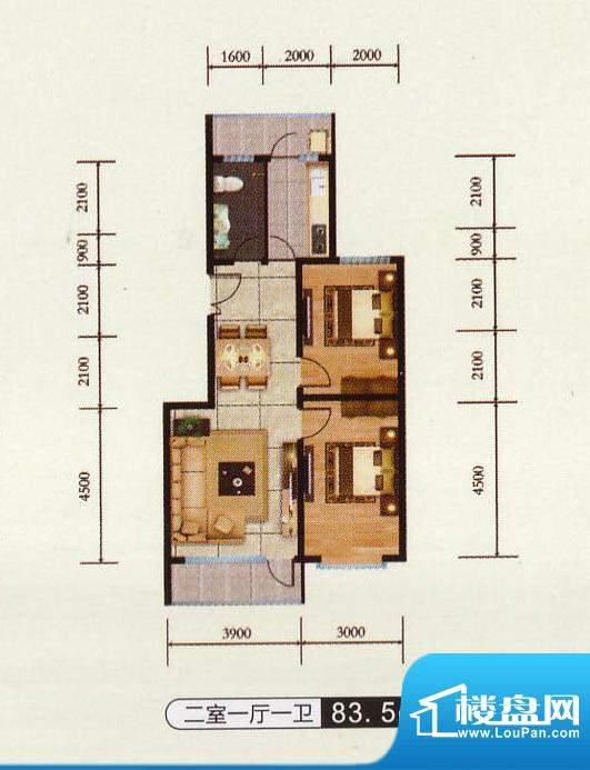 千金新城户型3 2室1面积:83.50m平米
