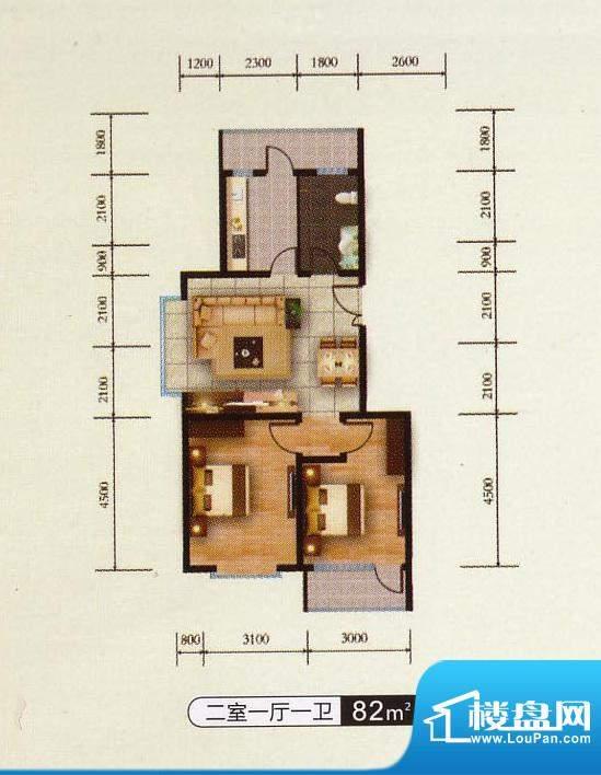 千金新城户型4 2室1面积:82.00m平米