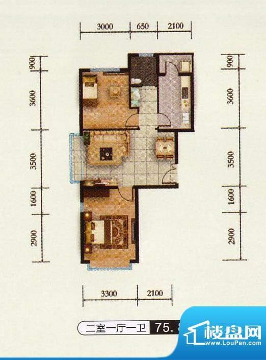 千金新城户型5 2室1面积:75.80m平米