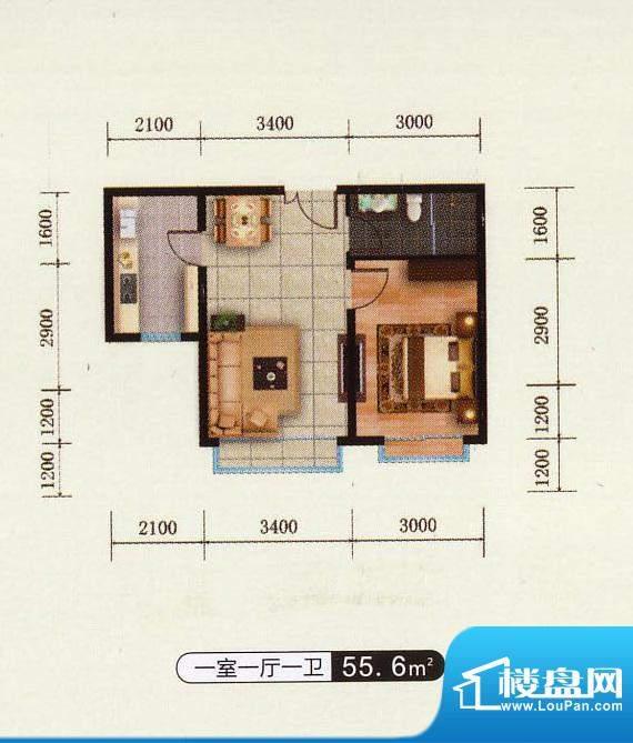 千金新城户型6 1室1面积:55.60m平米