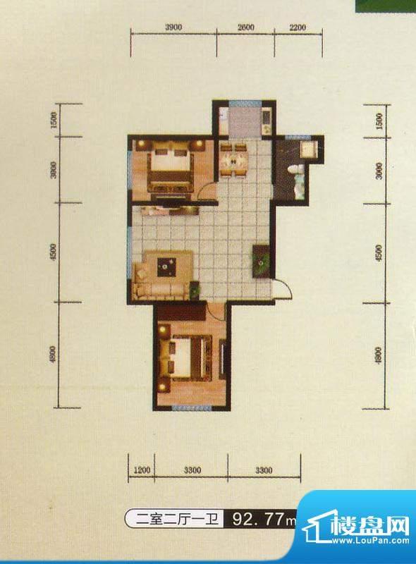 千金新城户型7 2室2面积:92.77m平米