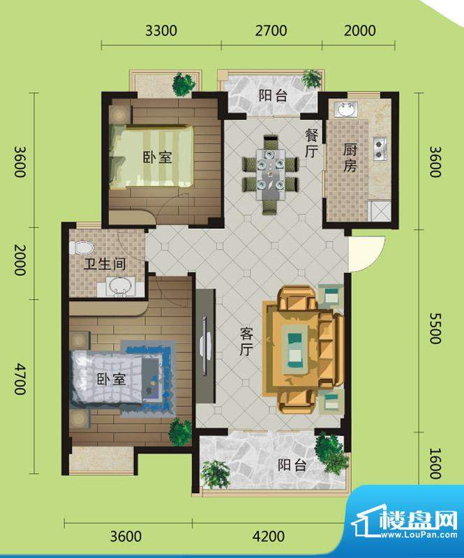 桂花城A1户型图 2室面积:87.00m平米