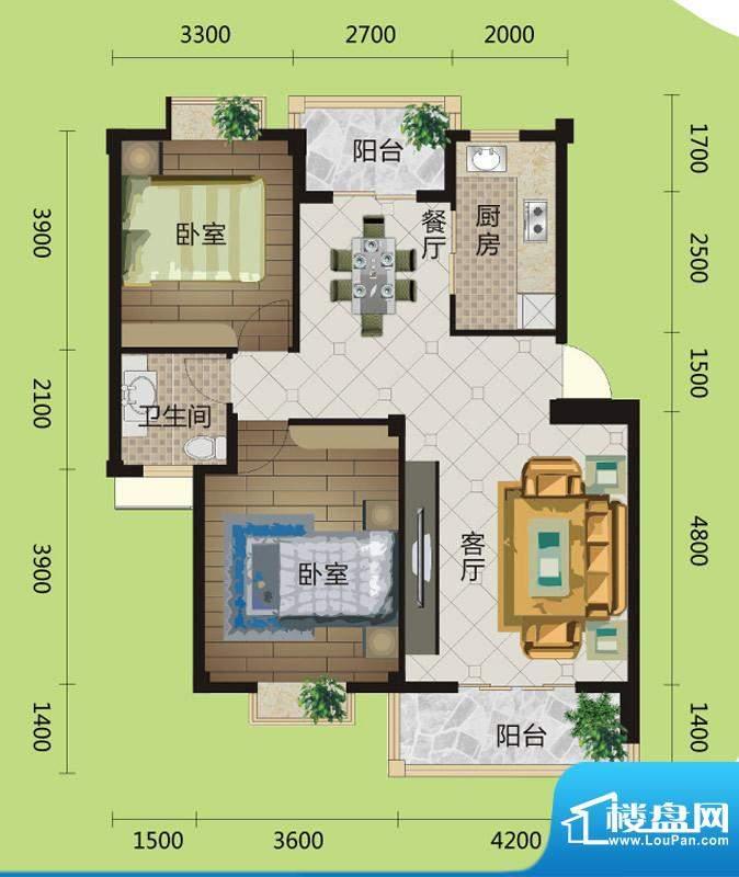 桂花城A2户型图 2室面积:90.00m平米