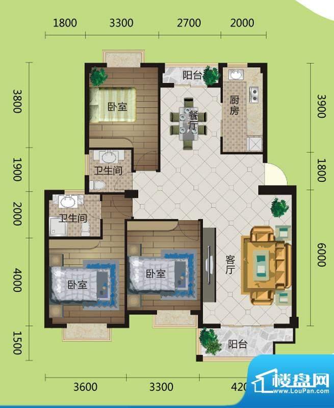 桂花城A3户型图 3室面积:122.00m平米