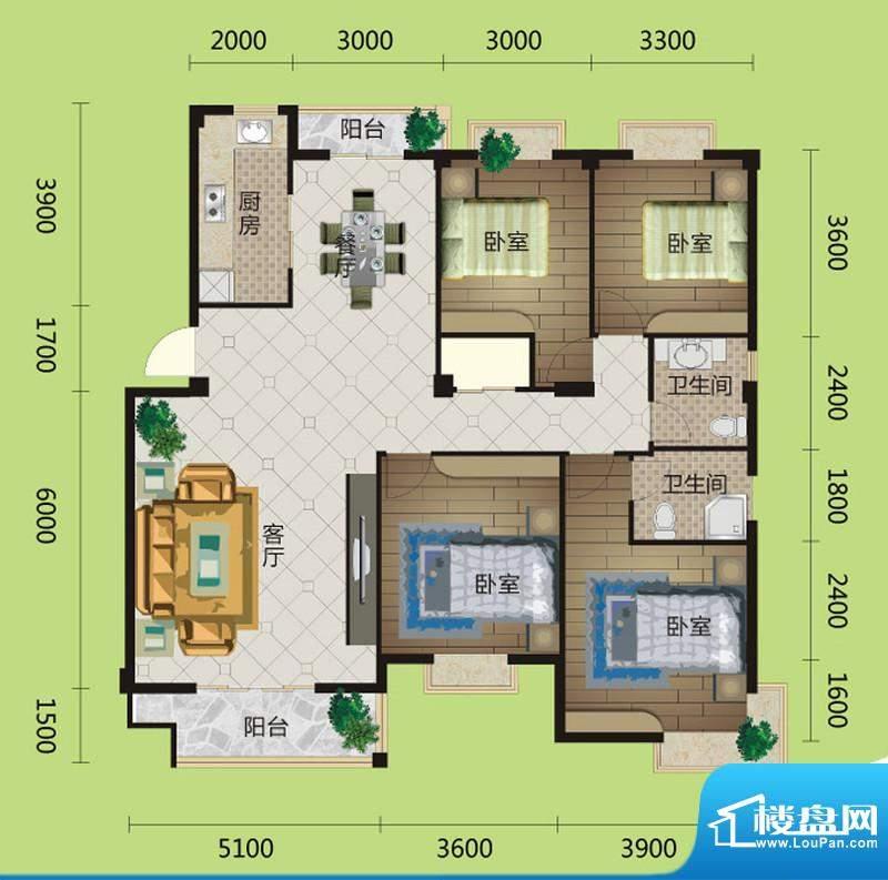 桂花城A4户型图 3室面积:150.00m平米