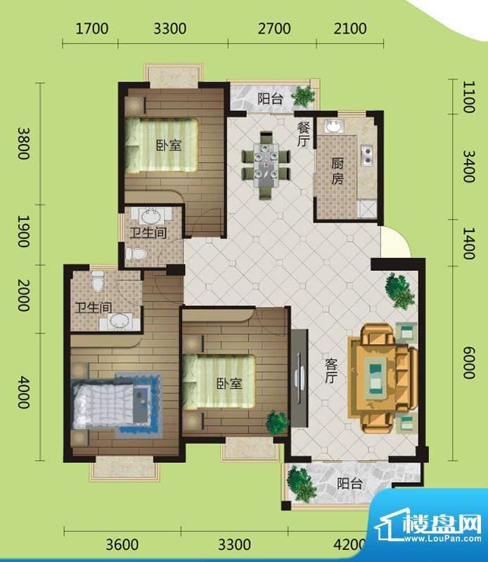 桂花城A5户型图 3室面积:120.00m平米