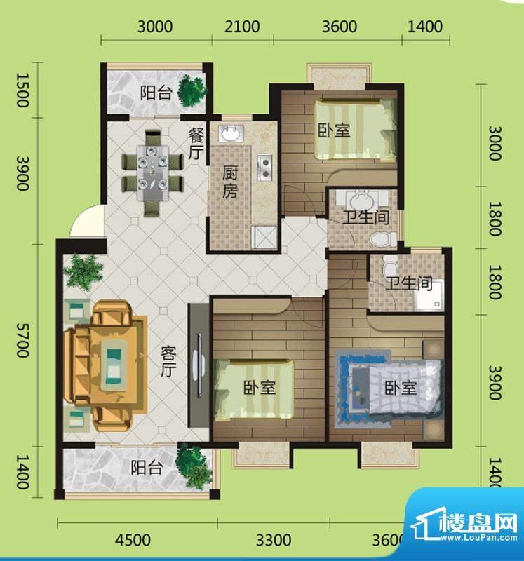 桂花城A6/A8户型图 面积:120.00m平米