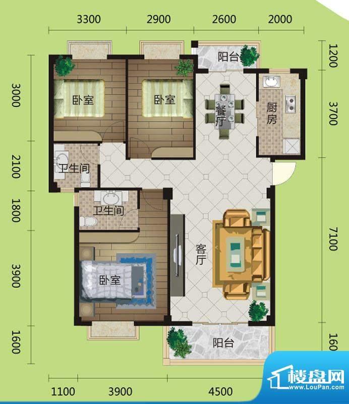 桂花城A7户型图 3室面积:121.00m平米