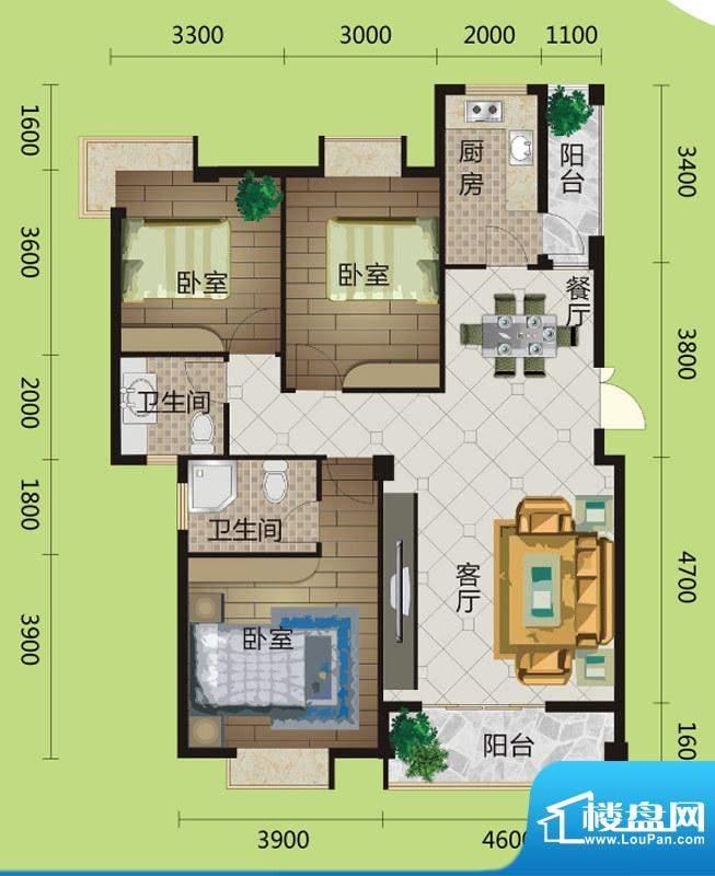 桂花城A9户型图 3室面积:121.00m平米