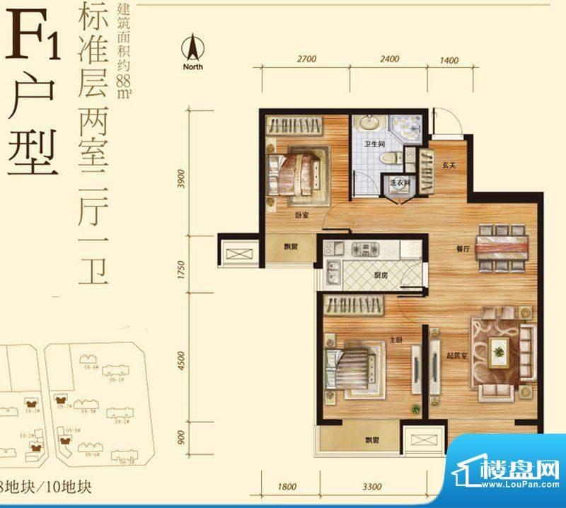 中粮万科长阳半岛F1户型 2室2厅面积:88.00平米