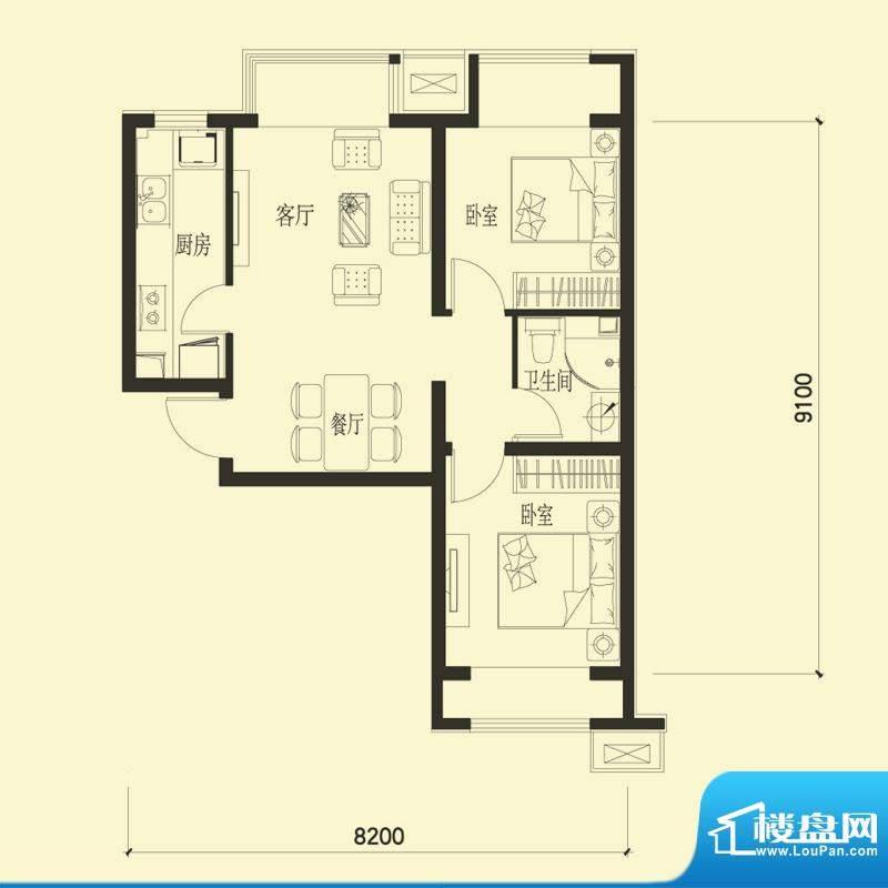 金融街·融汇B2户型 2室2厅1卫面积:76.00平米