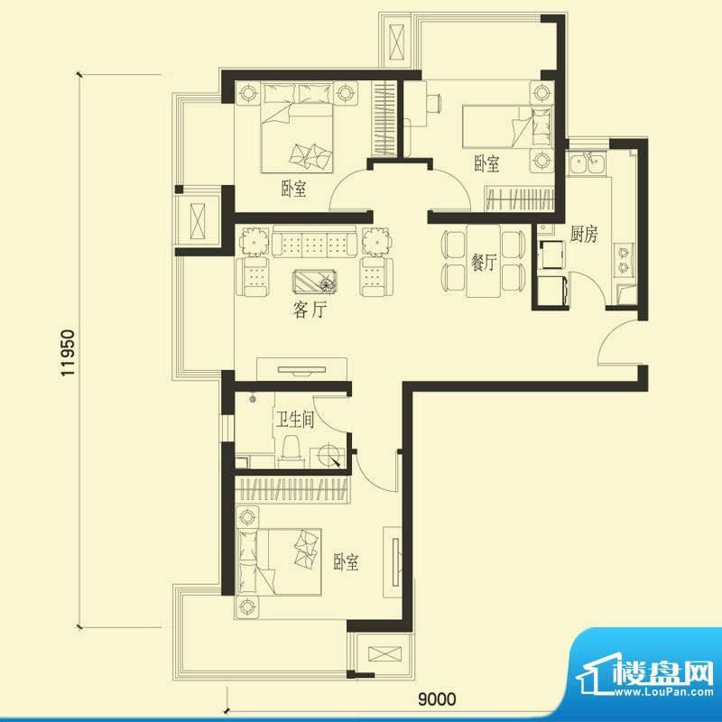 金融街·融汇D户型 3室2厅1卫1面积:106.00平米
